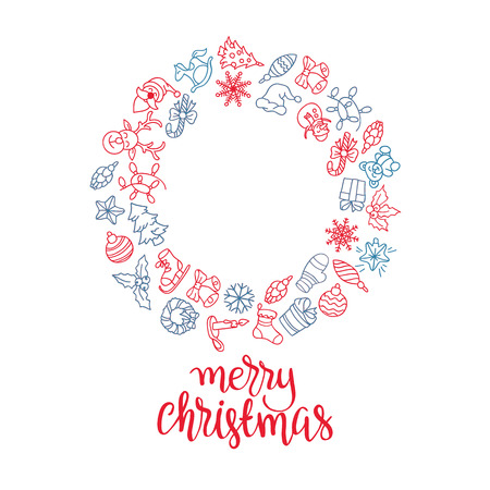 Merry Christmas and Happy New Year background with colored icons. Vector design concept