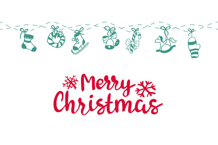 happy new year text: Merry Christmas background. Vector art. Perfect decoration element for cards, invitations and other types of holiday design. Illustration