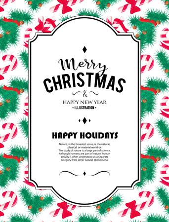 christmas element: Merry Christmas background. Vector art. Perfect decoration element for cards, invitations and other types of holiday design. Illustration