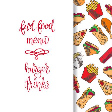 Menu Restauration rapide. Set d'icônes sur l'arrière-plan de vecteur. frites, hamburgers, frites de patates douces, icecream hot-dog Banque d'images - 68435284