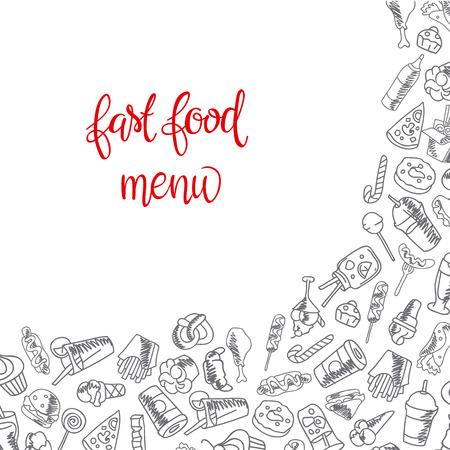 Fast food menu. Set of icons on the vector background. french fries, hamburger, sweet potato fries, hot dog icecream