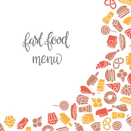 Fast Food-Menü. Set Von Symbolen Auf Dem Vektor Hintergrund ...