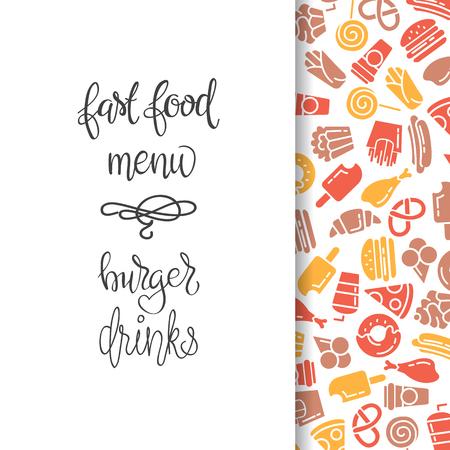 Menu Restauration rapide. Set d'icônes sur l'arrière-plan de vecteur. frites, hamburgers, frites de patates douces, icecream hot-dog Banque d'images - 68435298