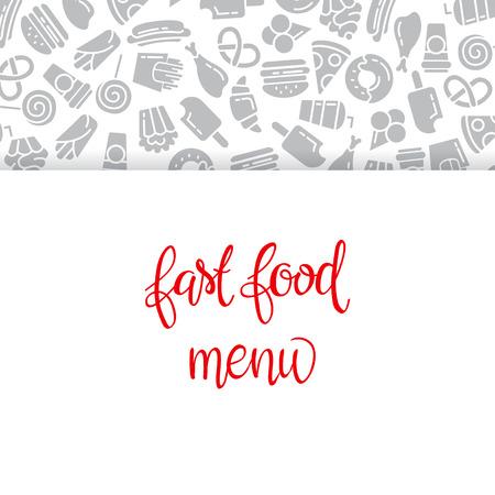 Menu Restauration rapide. Set d'icônes sur l'arrière-plan de vecteur. frites, hamburgers, frites de patates douces, icecream hot-dog Banque d'images - 68435301
