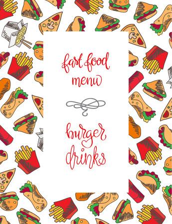 Menu Restauration rapide. Set d'icônes sur l'arrière-plan de vecteur. frites, hamburgers, frites de patates douces, icecream hot-dog Banque d'images - 67818486