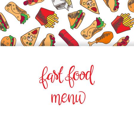 Menu Restauration rapide. Set d'icônes sur l'arrière-plan de vecteur. frites, hamburgers, frites de patates douces, icecream hot-dog Banque d'images - 67818493