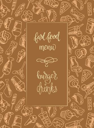 Fast Food Süßigkeiten Menü Vektor Nahtlose Muster. Französisch ...