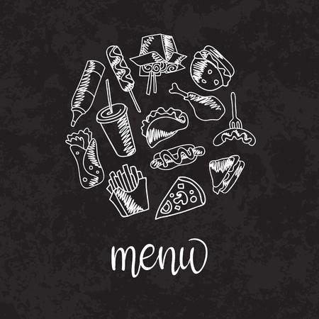 menú de comida rápida. Conjunto de iconos en el vector de fondo. papas fritas, hamburguesas, batatas fritas, helado de hot dogs