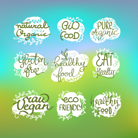 healty lifestyle: Healty food lettering set.
