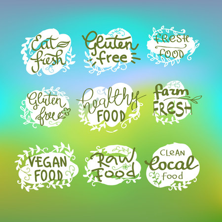 healty living: Healty food Healty food lettering set. vegetables and fruits icons