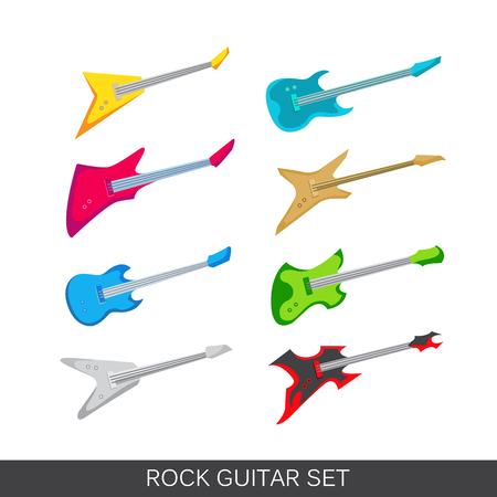 Vector electric and acoustic guitars icon set. Includes images of different guitars Illustration