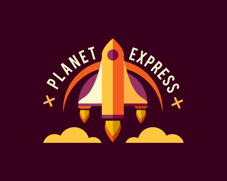 Set of vintage space and astronaut badges, emblems
