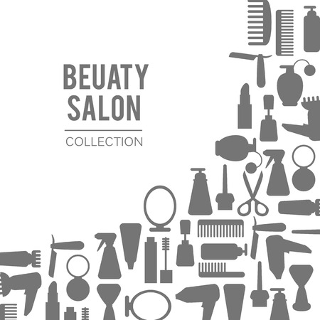 Beauty store background with make up artist and hairdressing objects lipstick, cream, brush. Template. Hand drawn isolated objects Illustration