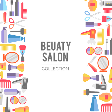 美容店の背景には、アーティストと理髪オブジェクトの口紅、クリーム、ブラシを構成します。テンプレートです。手描き孤立したオブジェクト