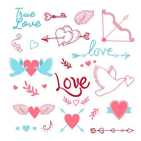 hand-lettered vintage st. valentines card elements set