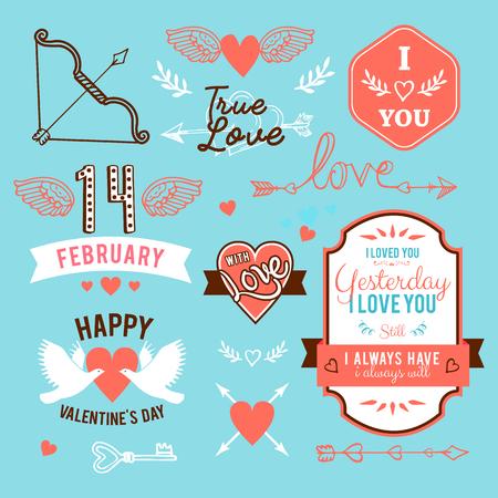 forties: hand-lettered vintage st. valentines card elements set
