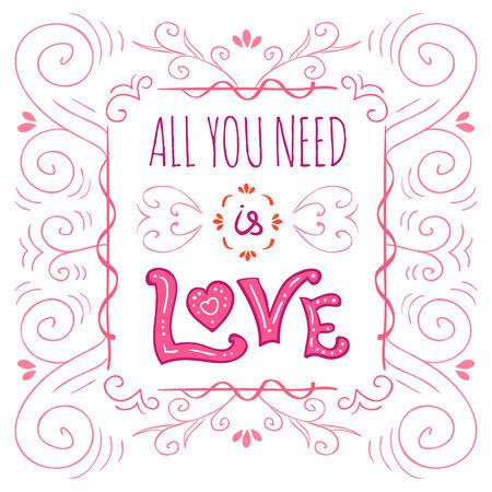 hand-lettered vintage st. valentines card
