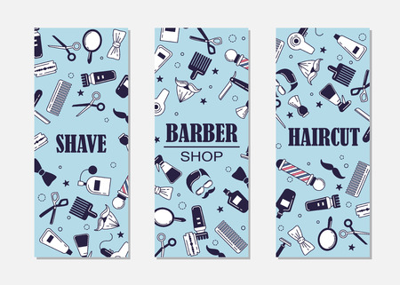 Composition of the set of icons for the Barber shop. Vector banners for your web design, in flat linear illustration style Illustration