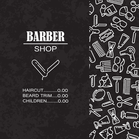 Composition of the set of icons for the Barber shop. Vector elements for your web design, in flat linear illustration style Stock Photo