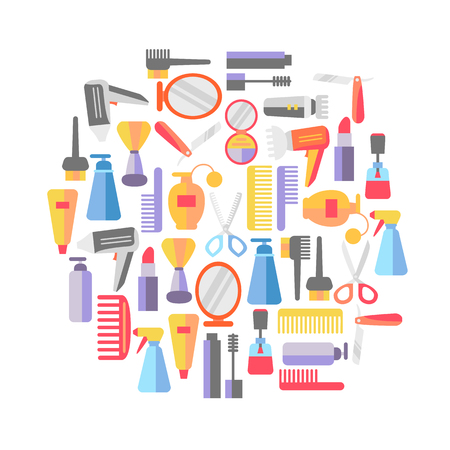 Beauty store background with make up artist and hairdressing objects.