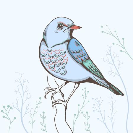 zafiro: Ilustración de un pájaro. Fondo hecho a mano
