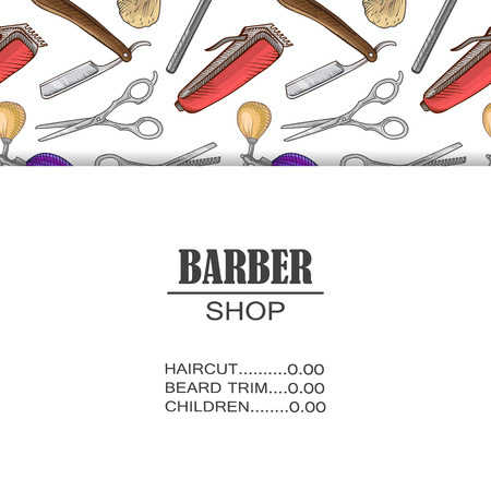 Set of icons for the Barber shop for your web design, in flat linear illustration style