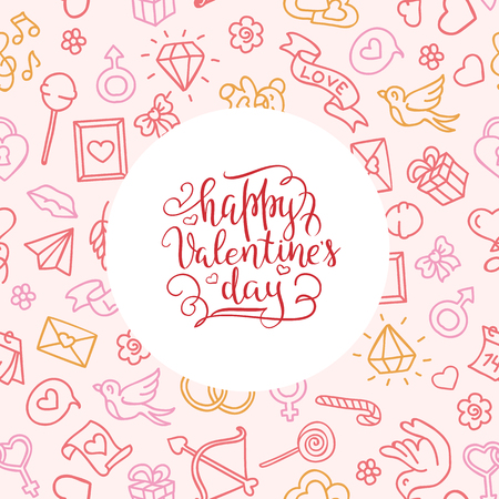 hand-lettered vintage st. valentines card - with handmade calligraphy, vector background Illustration