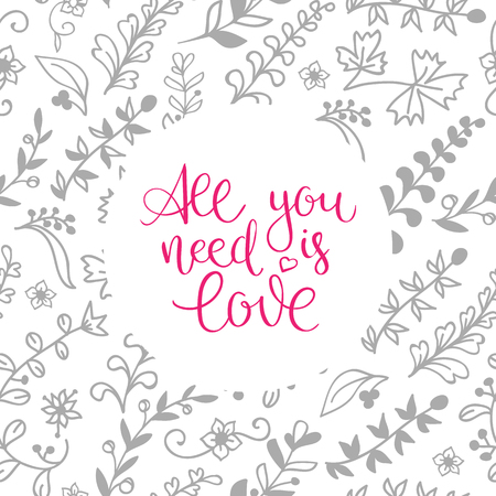 hand-lettered vintage st. valentines card - with handmade calligraphy, vector background Illusztráció