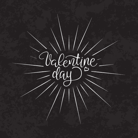 forties: hand-lettered vintage st. valentines card - with handmade calligraphy, vector background Illustration