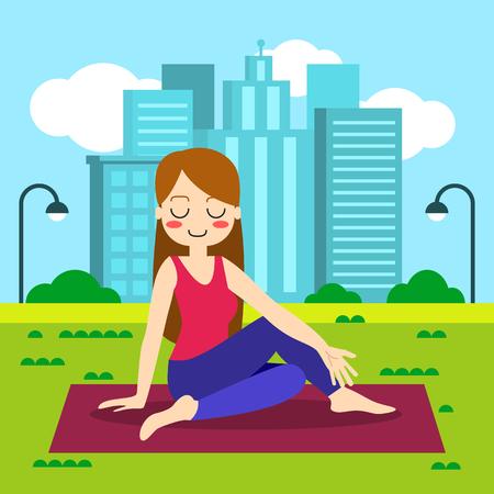 mantra: Vector illustration. Woman practicing yoga. In asana Vrikshasana. Illustration