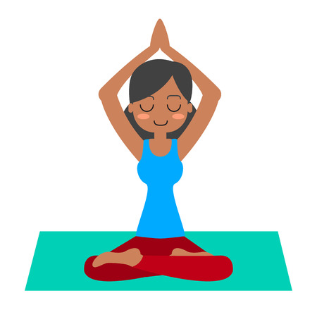 woman pose: Young woman practicing yoga in lotus pose