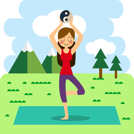 Vector illustration. Woman practicing yoga. In asana Vrikshasana. Ilustração