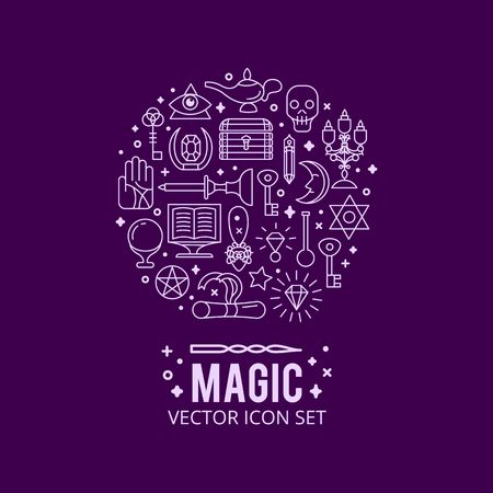 esp: Vector illustration of magic icons. sparkle magic lights. mystery miracle