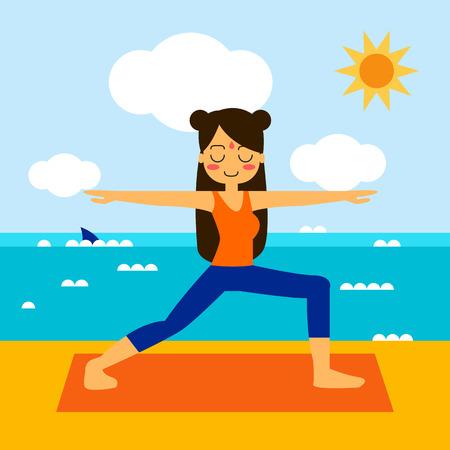 relaxation: Woman practicing yoga in asana Vrikshasana. Illustration