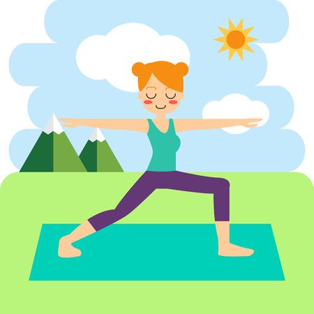 Vector illustration. Woman practicing yoga. In asana Vrikshasana. 向量圖像
