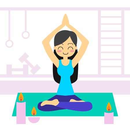 Vector illustration. Woman practicing yoga. In asana Vrikshasana. Illustration