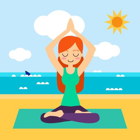 Vector illustration. Woman practicing yoga. In asana Vrikshasana. Vettoriali