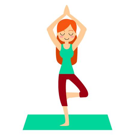 Vector illustration. Woman practicing yoga. In asana Vrikshasana. Ilustração