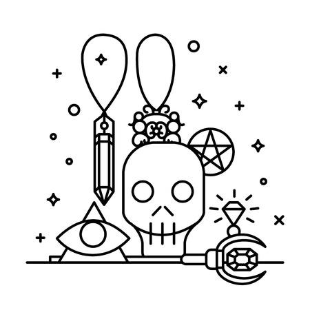 Hand-drawn magic illustration with sparkle magic lights. Ilustração