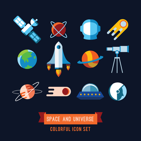 space station: Set of Vector Icons and Illustrations in Flat Design Style. Planets, Rockets, Stars Stock Photo