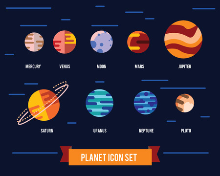 Vector flat icon set of solar system planets