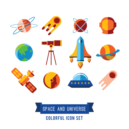Set of Vector Icons and Illustrations in Flat Design Style. Planets, Rockets, Stars Stock Photo