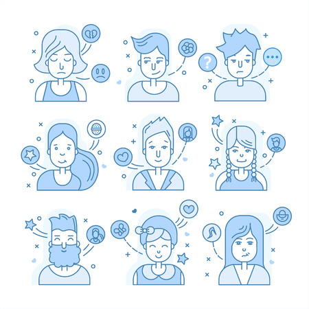 male symbol: Linear Flat people faces vector icon set, illustrations set.