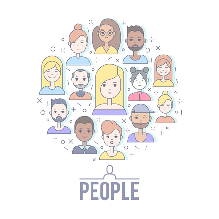 Flat Linear people faces vector illustration.