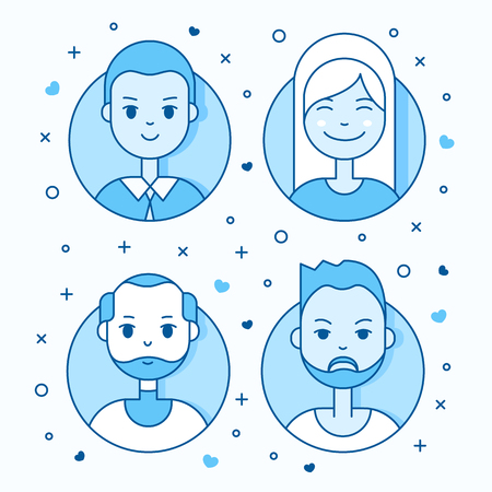 userpic: Linear Flat people faces vector icon set. Social media avatar, userpic and profiles.