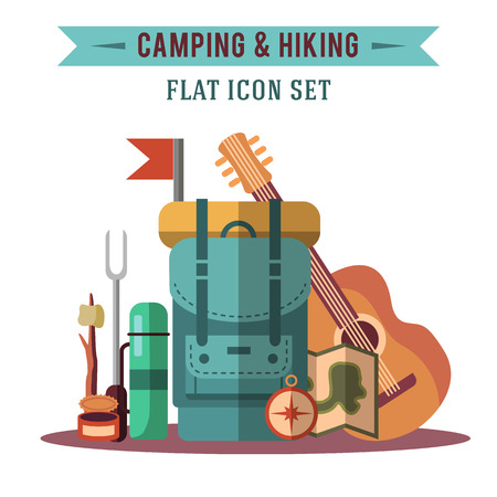 hiking: Camping flat set with hiking equipment vector illustration