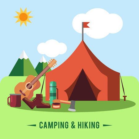 Camping flat set with hiking equipment vector illustration