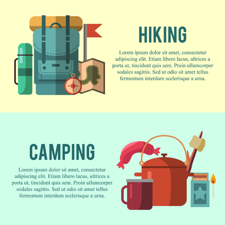 Camping flat set with hiking equipment vector icons set