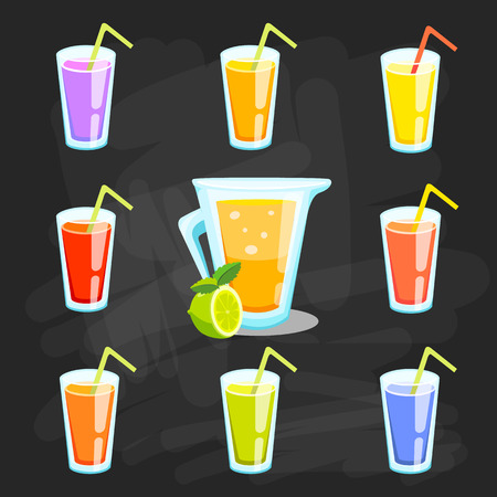 Lemon and lime lemonade vector background. Çizim