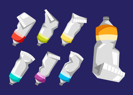 Set of colorful vector paint tubes